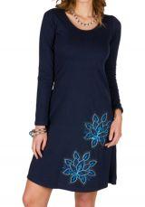 Robe tendance à manches longues et uni bleu marine Jade 300943
