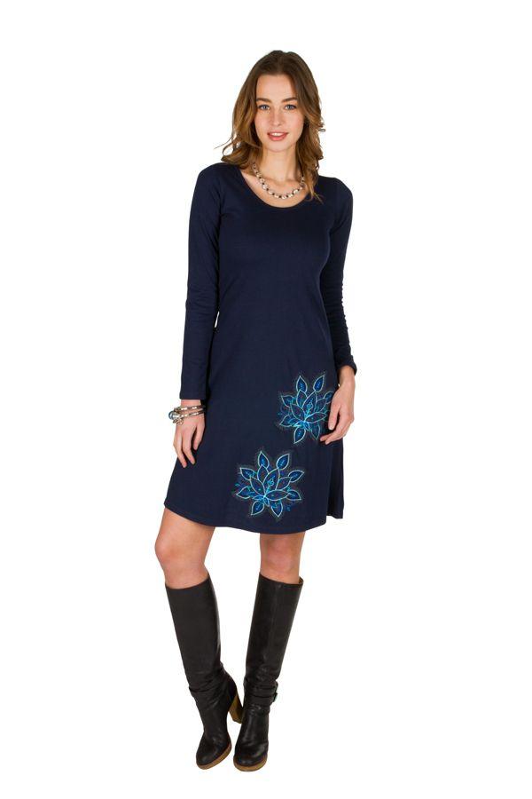 Robe tendance à manches longues et uni bleu marine Jade 300944