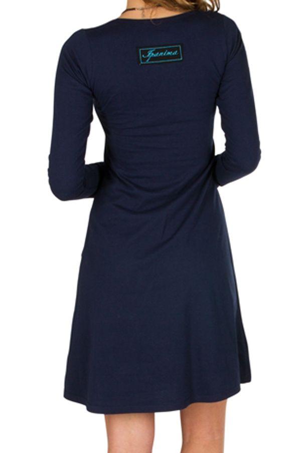 Robe tendance à manches longues et uni bleu marine Jade 300950
