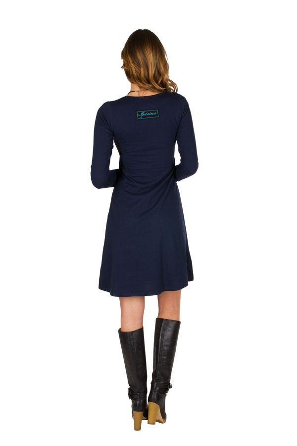 Robe tendance à manches longues et uni bleu marine Jade 300951