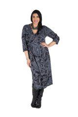 Robe tendance imprimée pour l'automne hiver grise femme Piita 300503