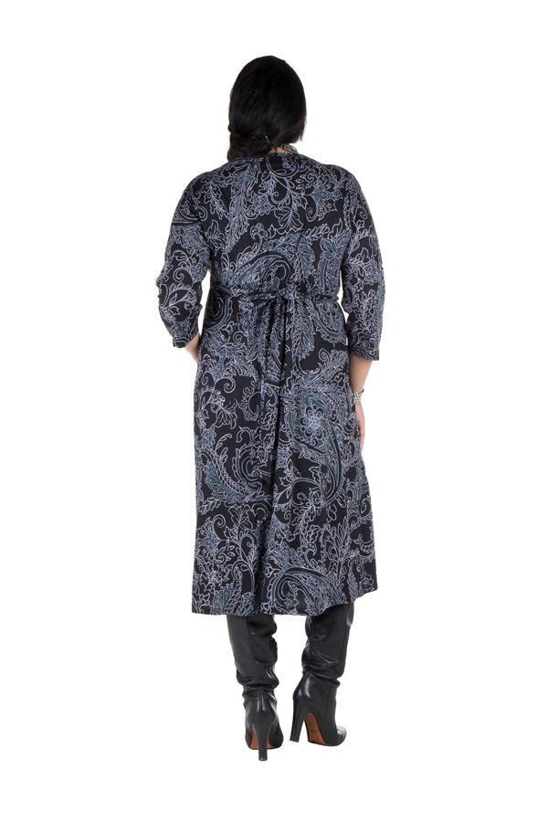 Robe tendance imprimée pour l'automne hiver grise femme Piita 300505