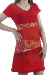 Robe tendance patchworks feminine à manches courtes rouge Monna 296597