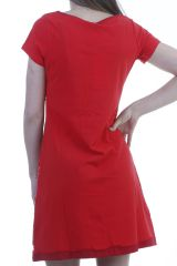 00d90075ff5 Robe tendance patchworks feminine à manches courtes rouge Monna 296598