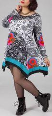 Robe trapèze courte Ethnique et Originale Kacy Blanche 274879