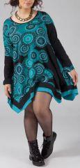 Robe trapèze courte Ethnique et Originale Kacy verte 274878