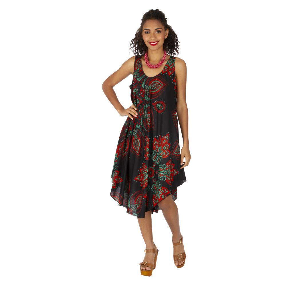 Robe trapèze de plage avec un imprimé sur fond noir Gladys 316995