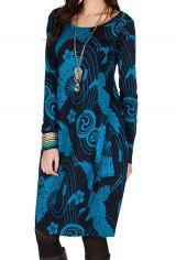 Robe tulipe originale à manche longue et à imprimées Noir et Bleu Bloo 300979
