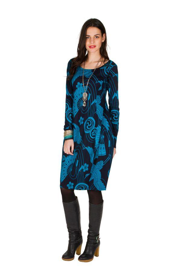 Robe tulipe originale à manche longue et à imprimées Noir et Bleu Bloo 300980