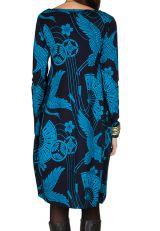 Robe tulipe originale à manche longue et à imprimées Noir et Bleu Bloo 300981