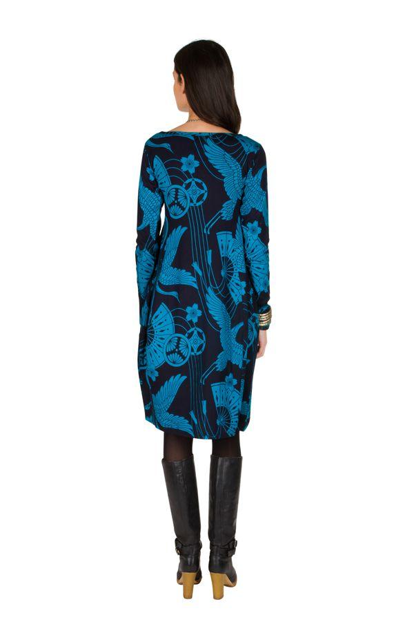 Robe tulipe originale à manche longue et à imprimées Noir et Bleu Bloo 300982