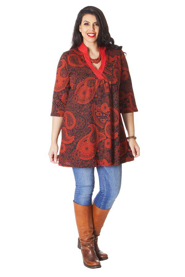 Robe Tunique à Col en V grande taille Ethnique Janis Rouge 286152