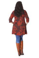 Robe Tunique à Col en V grande taille Ethnique Janis Rouge 286153