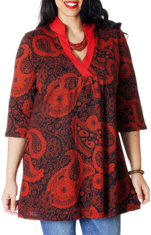 Robe Tunique à Col en V grande taille Ethnique Janis Rouge 286792