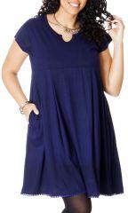 Robe Tunique à manches courtes en Grande taille Natacha Bleue 286777
