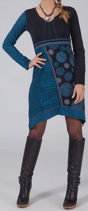Robe/Tunique bleue à manches longues asymétrique Mirenda