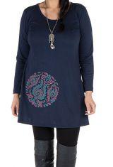 Robe tunique Bleue femme ronde à broderie fantaisie Mac 302007