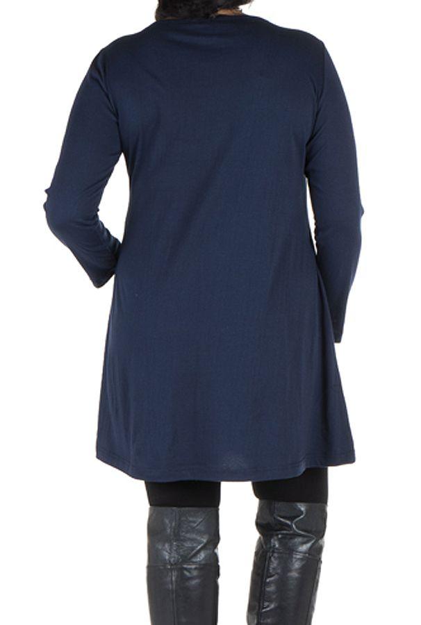 Robe tunique Bleue femme ronde à broderie fantaisie Mac 302013