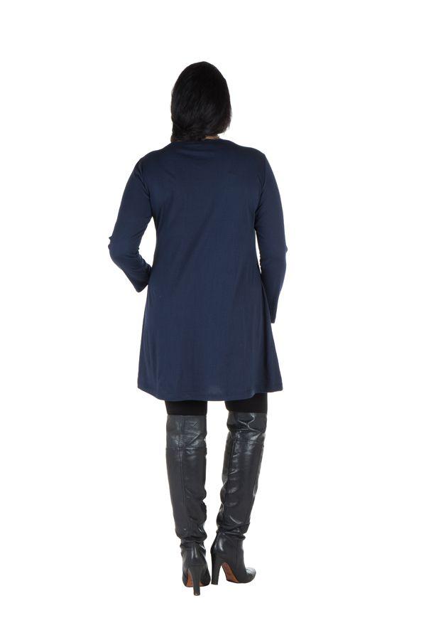 Robe tunique Bleue femme ronde à broderie fantaisie Mac 302021