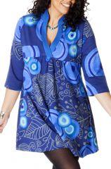 Robe Tunique Bleue grande taille à col en V Ethnique Janis 286786