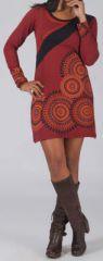 Robe/Tunique bordeaux à manches longues originale Abida