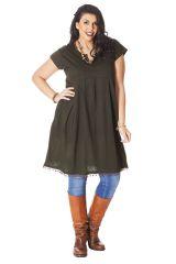 Robe Tunique Brune à manches courtes en Grande taille Natacha 286243