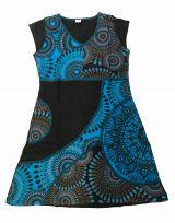 Robe tunique col V Noir et bleu pas cher