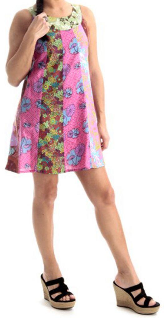 Robe Tunique d'été sans manches Ethnique et Imprimée Valence Rose 279637