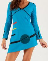 Robe Tunique d'hiver Asymétrique et Originale Djerba Bleue 279718