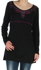 Robe Tunique de Soirée à manches longues et Elégante Mysta Noire 278950