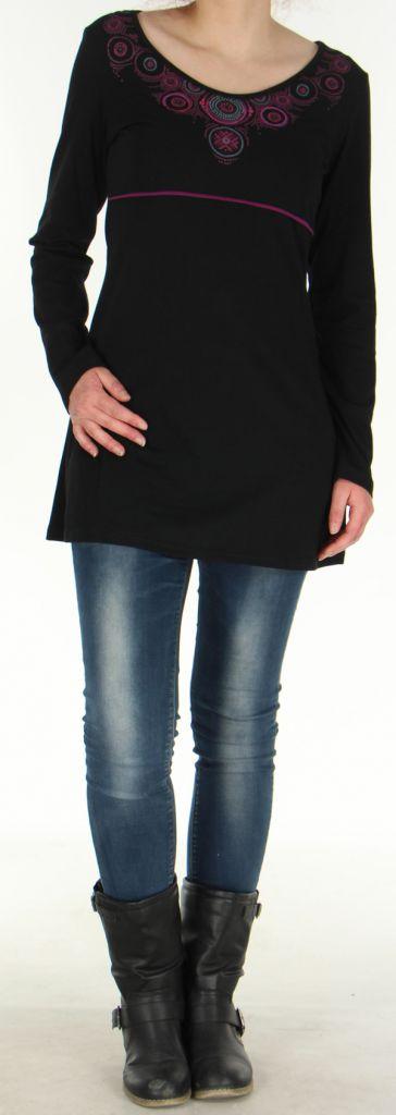 Robe Tunique de Soirée à manches longues et Elégante Mysta Noire 278951