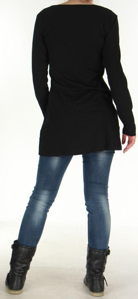 Robe Tunique de Soirée à manches longues et Elégante Mysta Noire 278952