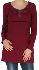 Robe Tunique de Soirée élégante à manches longues Mysta Framboise 278944