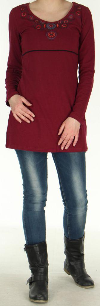 Robe Tunique de Soirée élégante à manches longues Mysta Framboise 278945