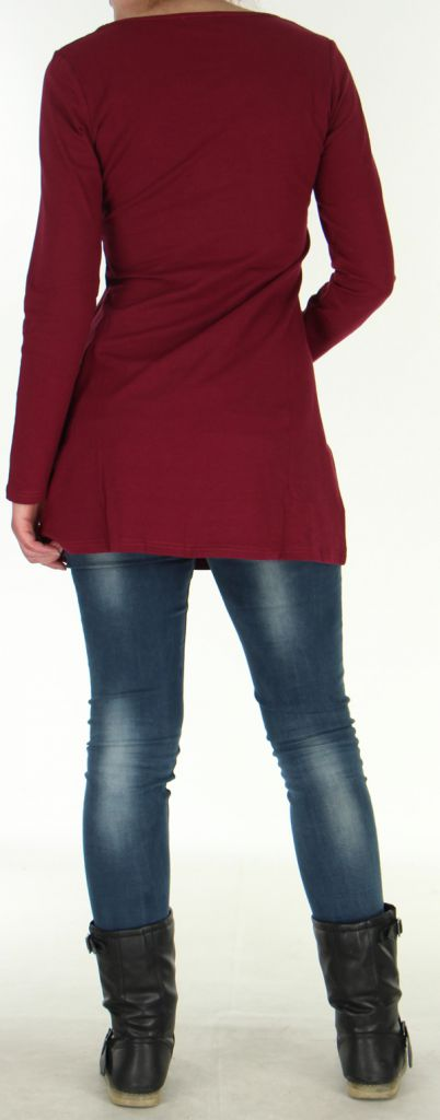Robe Tunique de Soirée élégante à manches longues Mysta Framboise 278946
