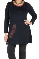 Robe tunique femme ronde à broderie paisley Meriva 301987