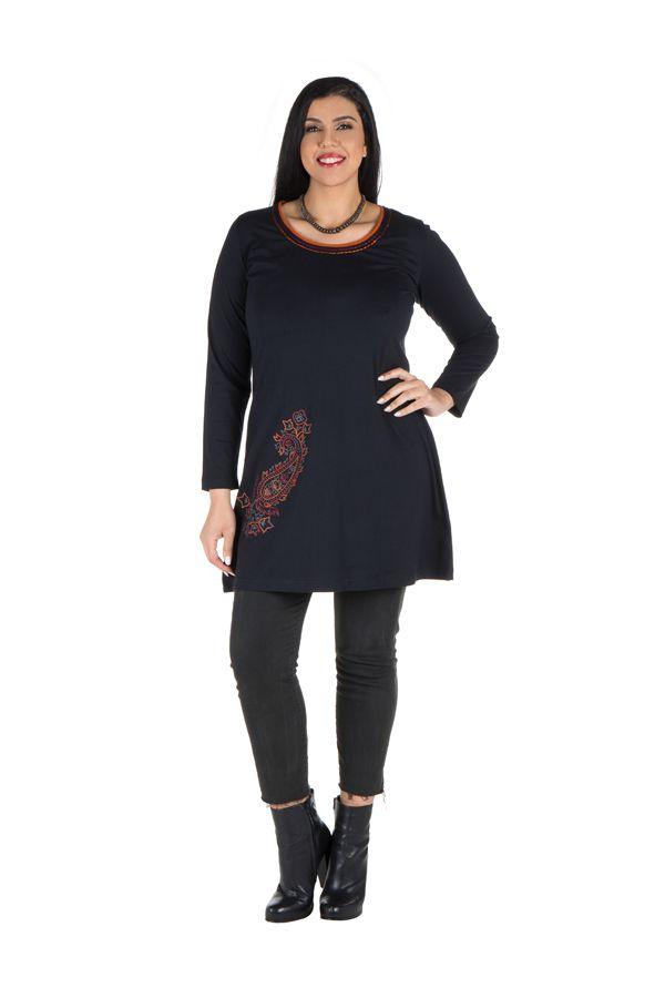 Robe tunique femme ronde à broderie paisley Meriva 301988