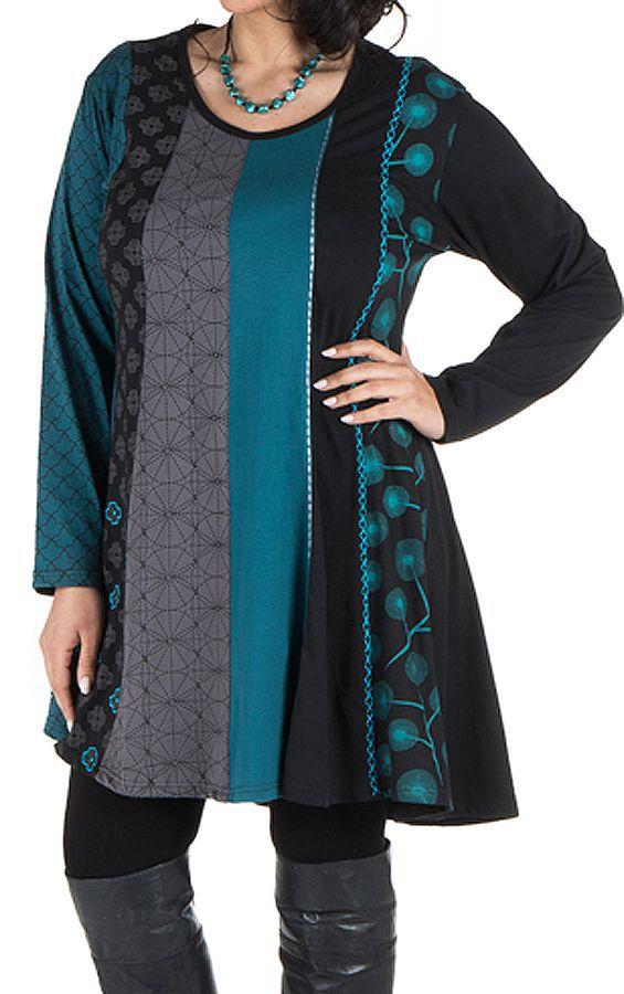 Robe tunique femme ronde à panneaux avec imprimés ethniques Bleue Henrietta 302110