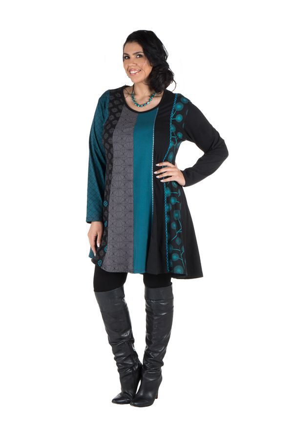 Robe tunique femme ronde à panneaux avec imprimés ethniques Bleue Henrietta 302112