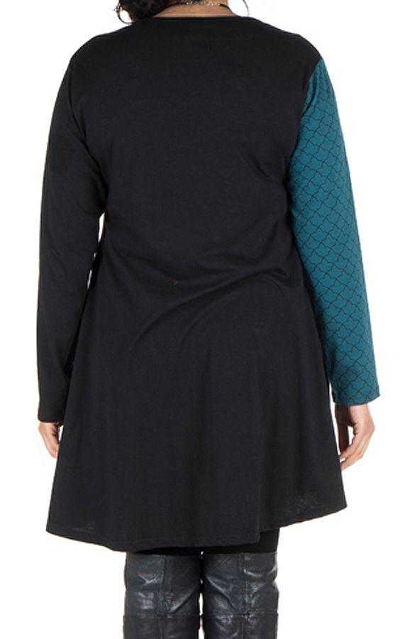 Robe tunique femme ronde à panneaux avec imprimés ethniques Bleue Henrietta 302113