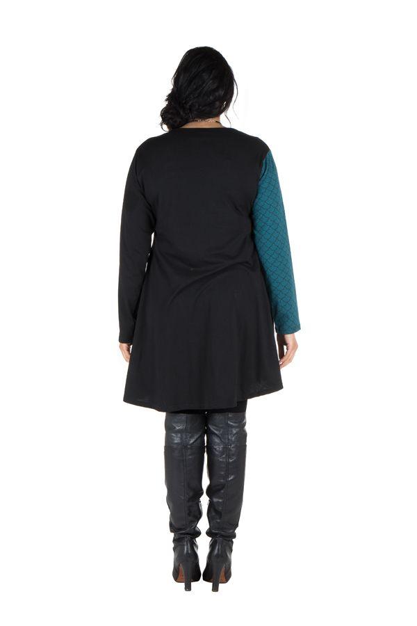 Robe tunique femme ronde à panneaux avec imprimés ethniques Bleue Henrietta 302114