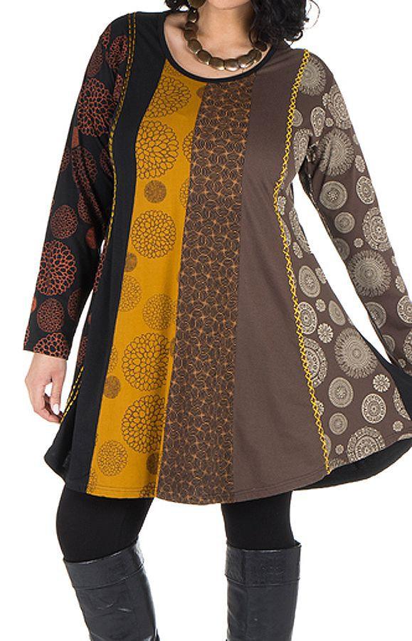 Robe tunique grande taille à panneaux avec imprimés fantaisies Chocolat Elison 302086