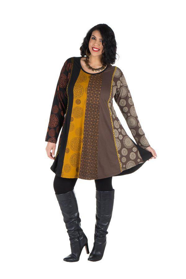Robe tunique grande taille à panneaux avec imprimés fantaisies Chocolat Elison 302088