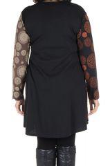 Robe tunique grande taille à panneaux avec imprimés fantaisies Chocolat Elison 302089