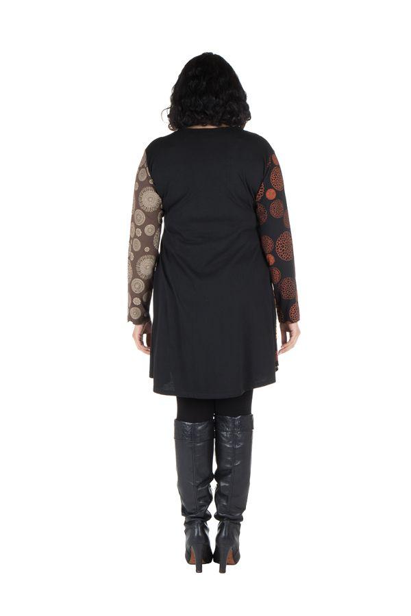 Robe tunique grande taille à panneaux avec imprimés fantaisies Chocolat Elison 302090