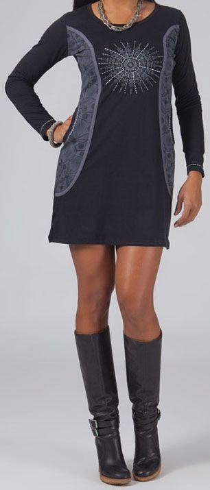 Robe/Tunique grise et noire à manches longues ethnique Louny