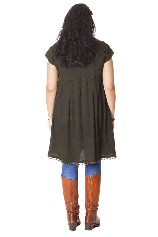 Robe Tunique kaki à manches courtes en Grande taille Natacha 286244