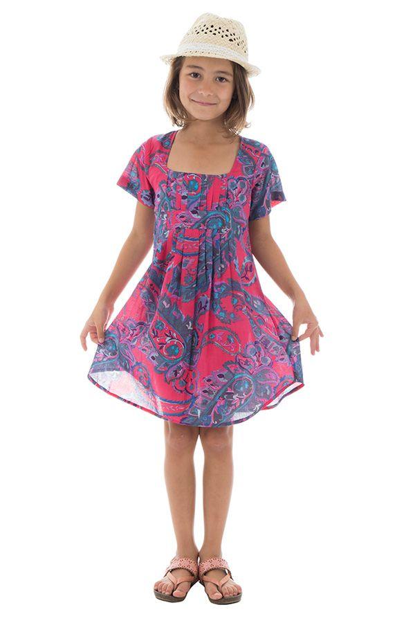 Robe tunique pour enfant avec col carré et imprimés Zana 294826