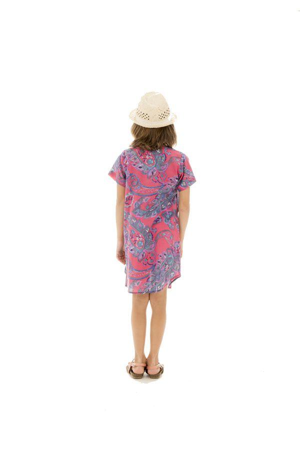 Robe tunique pour enfant avec col carré et imprimés Zana 294827