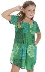 Robe tunique pour enfant avec imprimés fantaisies verte Zana 294813